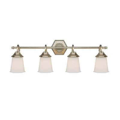 4-Light Winter Gold Vanity Light with Soft White Glass