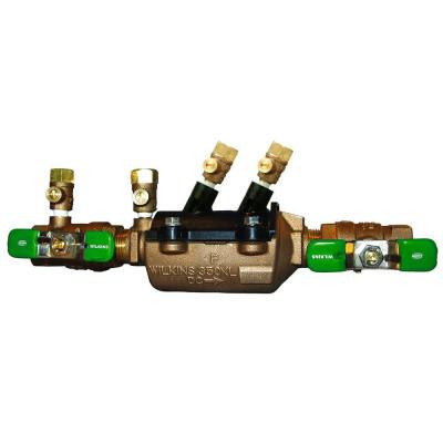 1 in. Lead-Free Bronze Double Check Valve Assembly with Integral Male 45 Degree Flare SAE Test Fitting