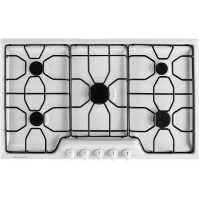 36 in. Gas Cooktop in White with 5 Burners