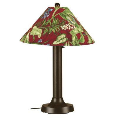 Seaside 34 in. Outdoor Bronze Table Lamp with Lacquer Shade