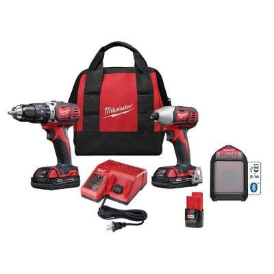 M18 18-Volt Lithium-Ion Cordless Combo Kit with M12 Bluetooth Speaker and Battery (3-Tool)