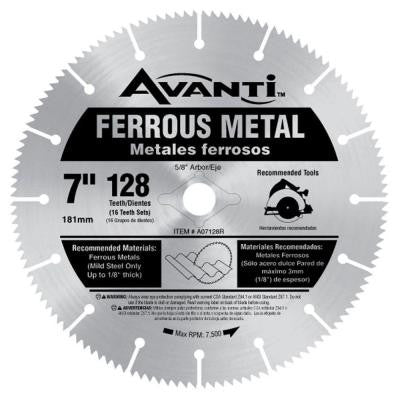 7 in. x 128-Teeth Ferrous Metal Cutting Saw Blade
