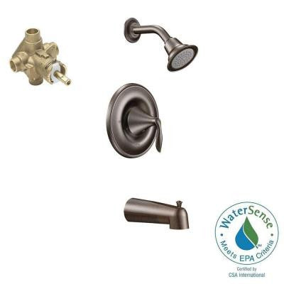 Eva 1-Handle Posi-Temp Tub and Shower Trim Kit in Oil Rubbed Bronze - Valve Included