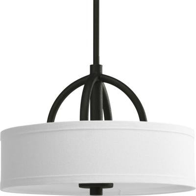 Calven Collection 3-Light Forged Black Semi-Flush Mount Light