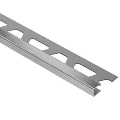 Quadec Brushed Stainless Steel 5/16 in. x 8 ft. 2-1/2 in. Metal Square Edge Tile Edging Trim