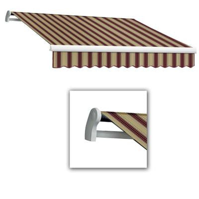 10 ft. Maui-AT Model Left Motor Retractable Awning (96 in. Projection) in Burgundy/Tan Multi