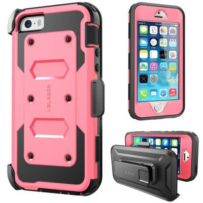 iPhone 5S Armorbox Series Full Body Case with Screen Protector and Holster - Pink