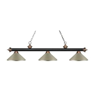 Rhea 3-Light Matte Black and Antique Copper Island Light with Antique Silver Shades