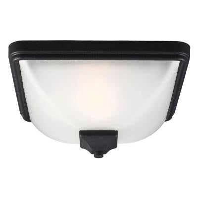Irving Park 1-Light Outdoor Black Ceiling Flushmount with Satin Etched Glass