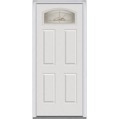 30 in. x 80 in. Master Nouveau Decorative Glass Segmented 1/4 Lite Primed White Fiberglass Smooth Prehung Front Door