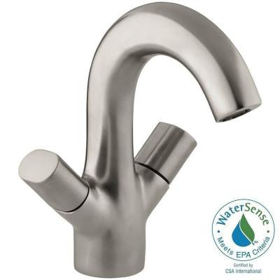 Oblo Single Hole 2-Handle Mid-Arc Bathroom Faucet in Vibrant Brushed Nickel