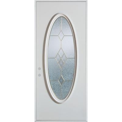 32 in. x 80 in. Geometric Patina Full Oval Lite Prefinished White Right-Hand Inswing Steel Prehung Front Door