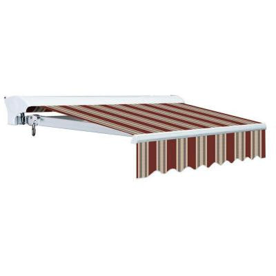 14 ft. Luxury L Series Semi-Cassette Manual Retractable Patio Awning (118 in. Projection) in Brick Red/Beige Stripes