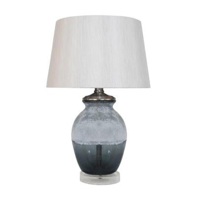 Smoked and Frosted 21 in. Grey Table Lamp with Shade