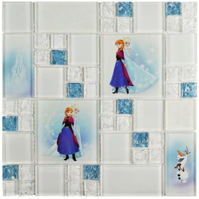 Frozen Ice Blue 11-3/4 in. x 11-3/4 in. x 5 mm Glass Mosaic Tile