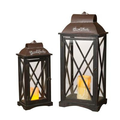 Wood and Metal Home and Garden Embossed Lantern (Set of 2)