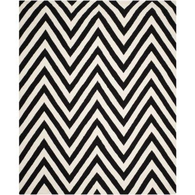 Dhurries Black/Ivory 8 ft. x 10 ft. Area Rug