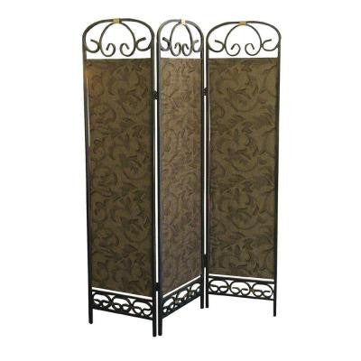 3-Panel Fiber Room Divider in Antique Gold