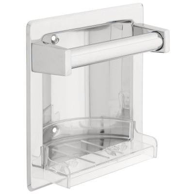 Recessed Soap Dish with Bar in Polished Chrome
