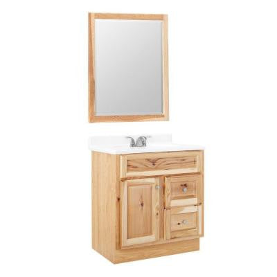 Hampton 30 in. W x 21 in. D x 33-1/2 in. H Vanity Cabinet with Mirror in Natural Hickory