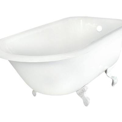 60 in. Roll Top Cast Iron Tub Less Faucet Holes in White with Ball and Claw Feet in Satin Nickel