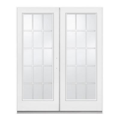 72 in. x 80 in. White Right-Hand Inswing Steel French Patio Door