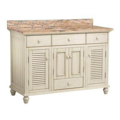 Cottage 49 in. W x 22 in. D Vanity in Antique White with Vanity Top and Stone Effects in Bordeaux