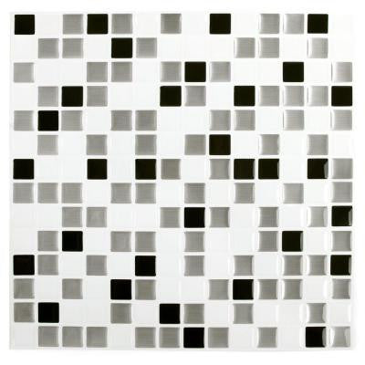 10 in. x 10 in. Black and White Steel Square Adhesive Decorative Wall Tile