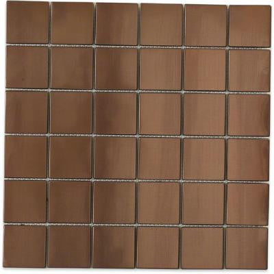 Metal Rouge Square 12 in. x 12 in. x 8 mm Stainless Steel Floor and Wall Tile