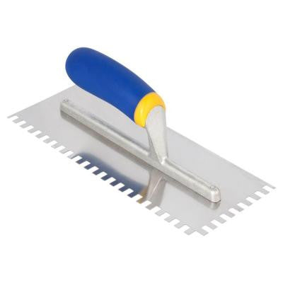 1/4 x 3/8 x 1/4 in. Sq-Notch Stainless Steel Trowel with Comfort Grip