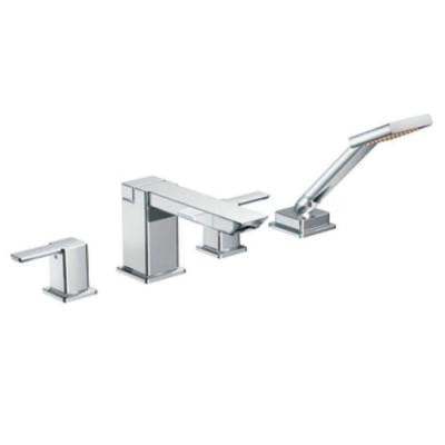 90-Degree 2-Handle Deck-Mount Roman Tub Faucet with Hand Shower in Chrome (Valve Sold Separately)