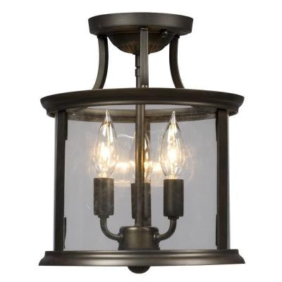 Negron 3-Light Oil-Rubbed Bronze Incandescent Semi-Flush Mount Light