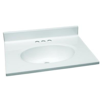 25 in. W Cultured Marble Vanity Top in White with Solid White Bowl