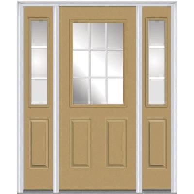 64 in. x 80 in. Classic Clear Glass GBG 1/2-Lite Painted Majestic Steel Prehung Front Door with Sidelites