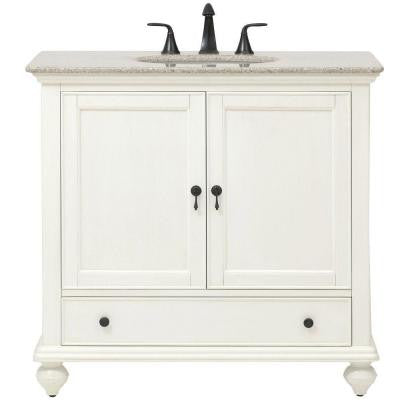 Newport 37 in. W x 21.5 in. D Single Vanity in White with Granite Vanity Top in Champagne with White Basin