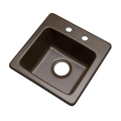 Westminster Drop-In Composite Granite 16 in. 2-Hole Single Bowl Bar Sink in Mocha