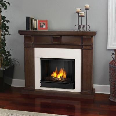 Porter 50 in. Ventless Gel Fuel Fireplace in Vintage Black Maple