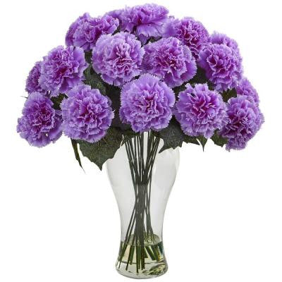Purple Carnation Arrangement with Vase