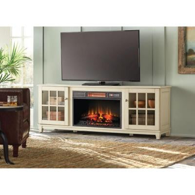 Westcliff 66 in. Low Boy Media Console Electric Fireplace in Bleached Linen