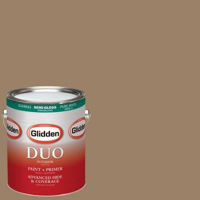 1-gal. #HDGY13U Canvasback Brown Semi-Gloss Latex Interior Paint with Primer