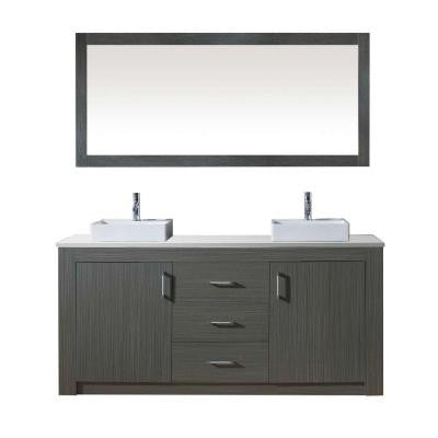 Tavian 72 in. W x 22 in. D x 33.8 in. H Vanity in Zebra Grey with Stone Vanity Top in White and Square Basin and Mirror
