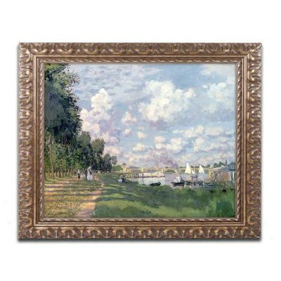 "16 in. x 20 in. ""The Marina at Argenteuil"" by Claude Monet Framed Printed Canvas Wall Art"