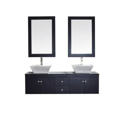 Ravenna 60 in. W x 22 in. D x 16 in. H Vanity in Espresso with Glass Vanity Top in Black with Basin and Mirror