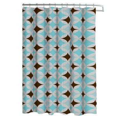 Oxford Weave Textured 70 in. W x 72 in. L Shower Curtain with Metal Roller Hooks in Avatar Aqua