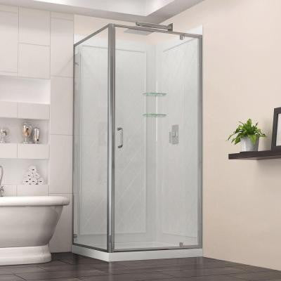 Flex 32 in. x 32 in. x 76-3/4 in. Framed Shower Enclosure with Back Wall and Base Kit in Chrome
