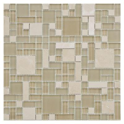 Tessera Versailles Sandstone 11-3/4 in. x 11-3/4 in. x 8 mm Glass and Stone Mosaic Wall Tile
