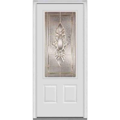 36 in. x 80 in. Heirloom Master Decorative Glass 3/4 Lite 2-Panel Primed White Majestic Steel Prehung Front Door