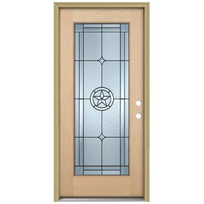 36 in. x 80 in. Lone Star Full Lite Unfinished Hemlock Wood Prehung Front Door with Brickmould and Patina Caming