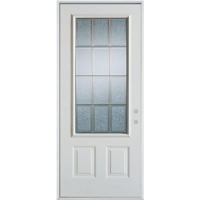 36 in. x 80 in. Geometric Glue Chip and Brass 3/4 Lite 2-Panel Prefinished Left-Hand Inswing Steel Prehung Front Door