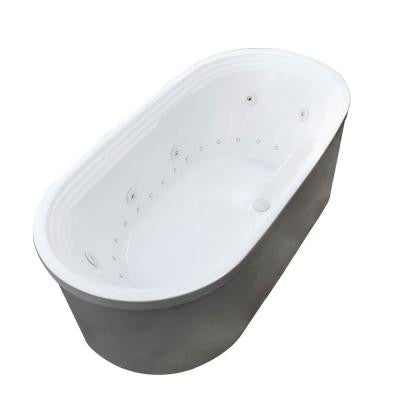 Pearl 5.6 ft. Center Drain Whirlpool and Air Bath Tub in White